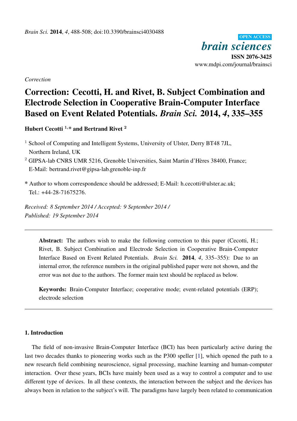Correction: Cecotti, H  and Rivet, B  Subject Combination and