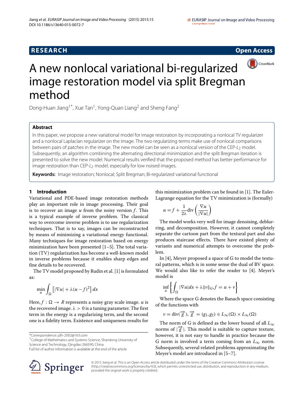 A new nonlocal variational bi-regularized image restoration model