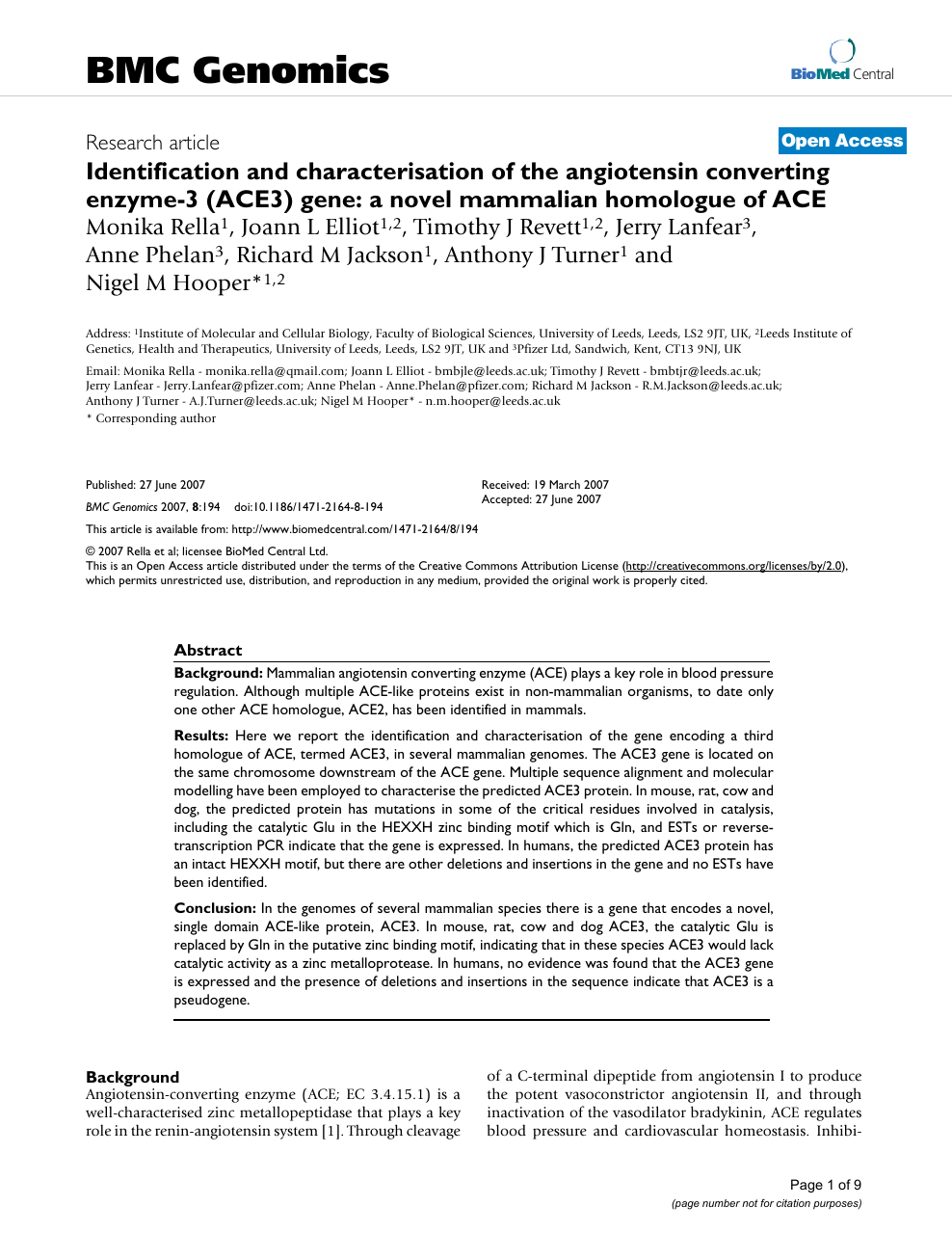 Identification and characterisation of the angiotensin