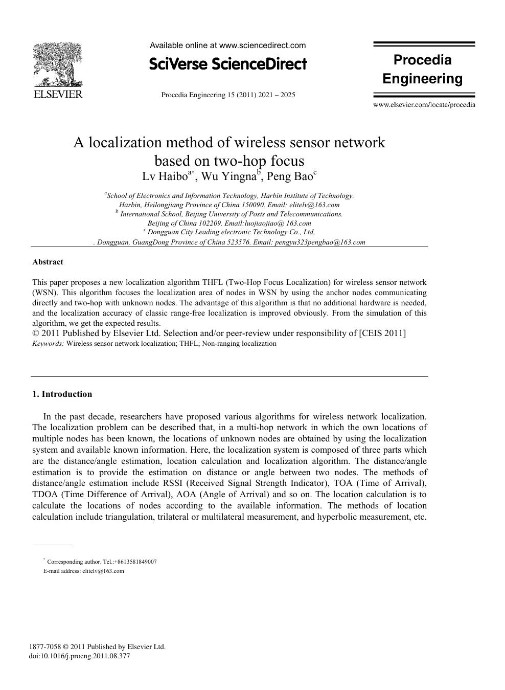 A localization method of wireless sensor network based on
