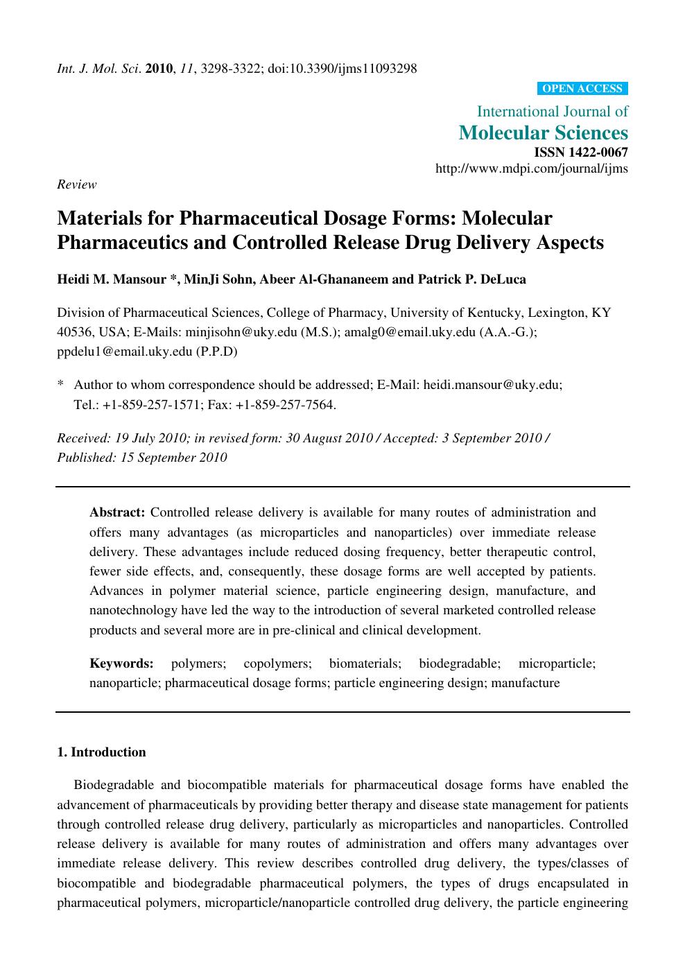 Design of form pharmaceutics pdf dosage science the