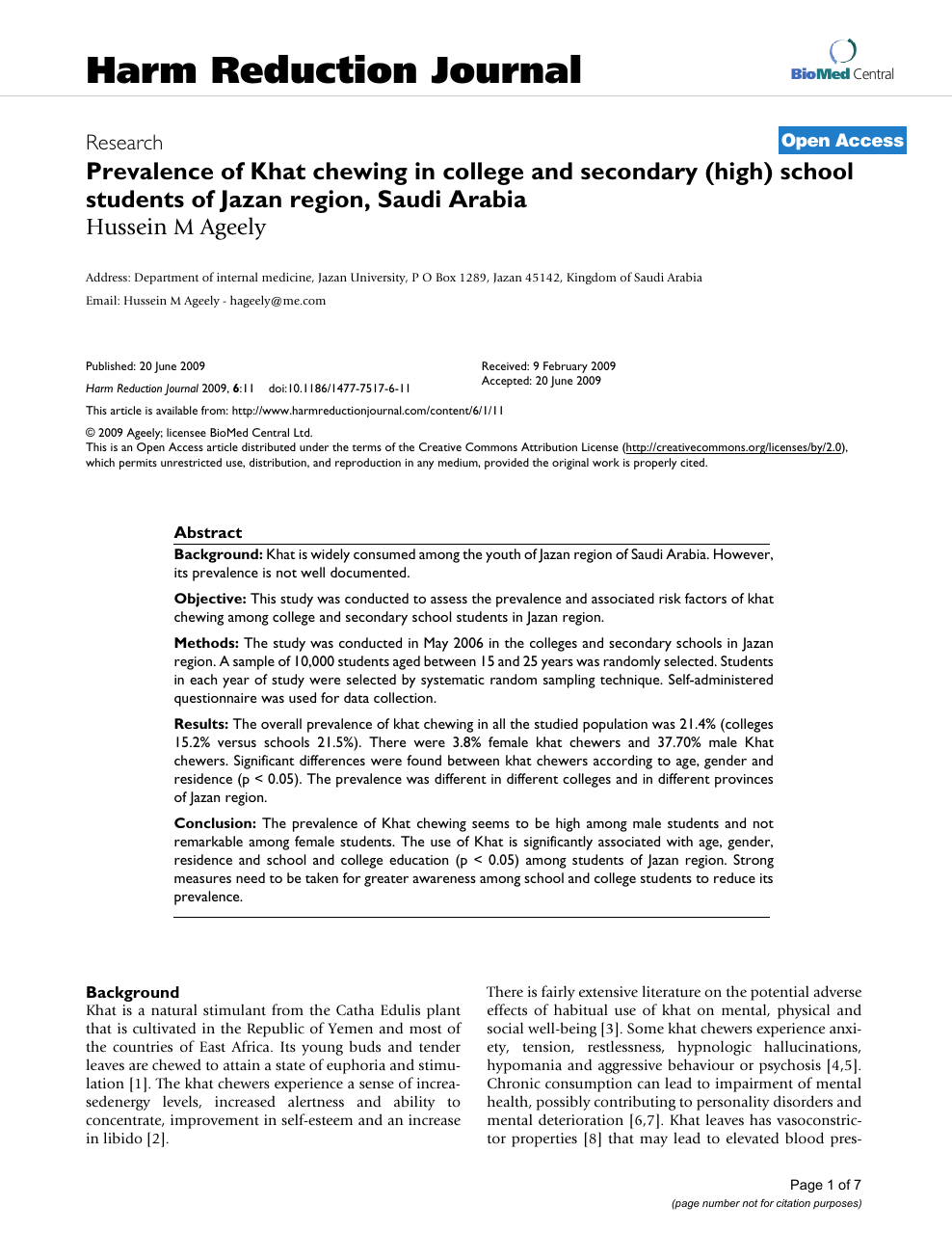Prevalence of Khat chewing in college and secondary (high) school