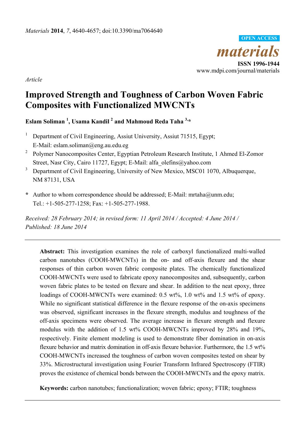 Improved Strength and Toughness of Carbon Woven Fabric
