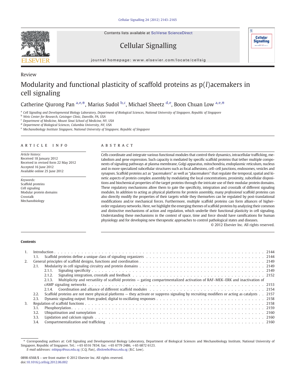 Modularity and functional plasticity of scaffold proteins as