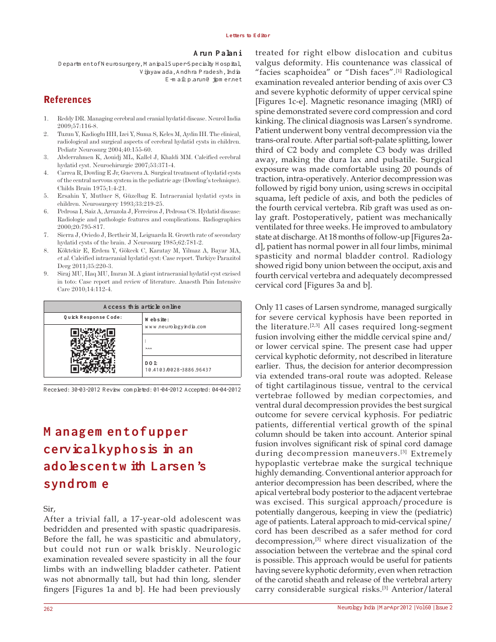 Management of upper cervical kyphosis in an adolescent with