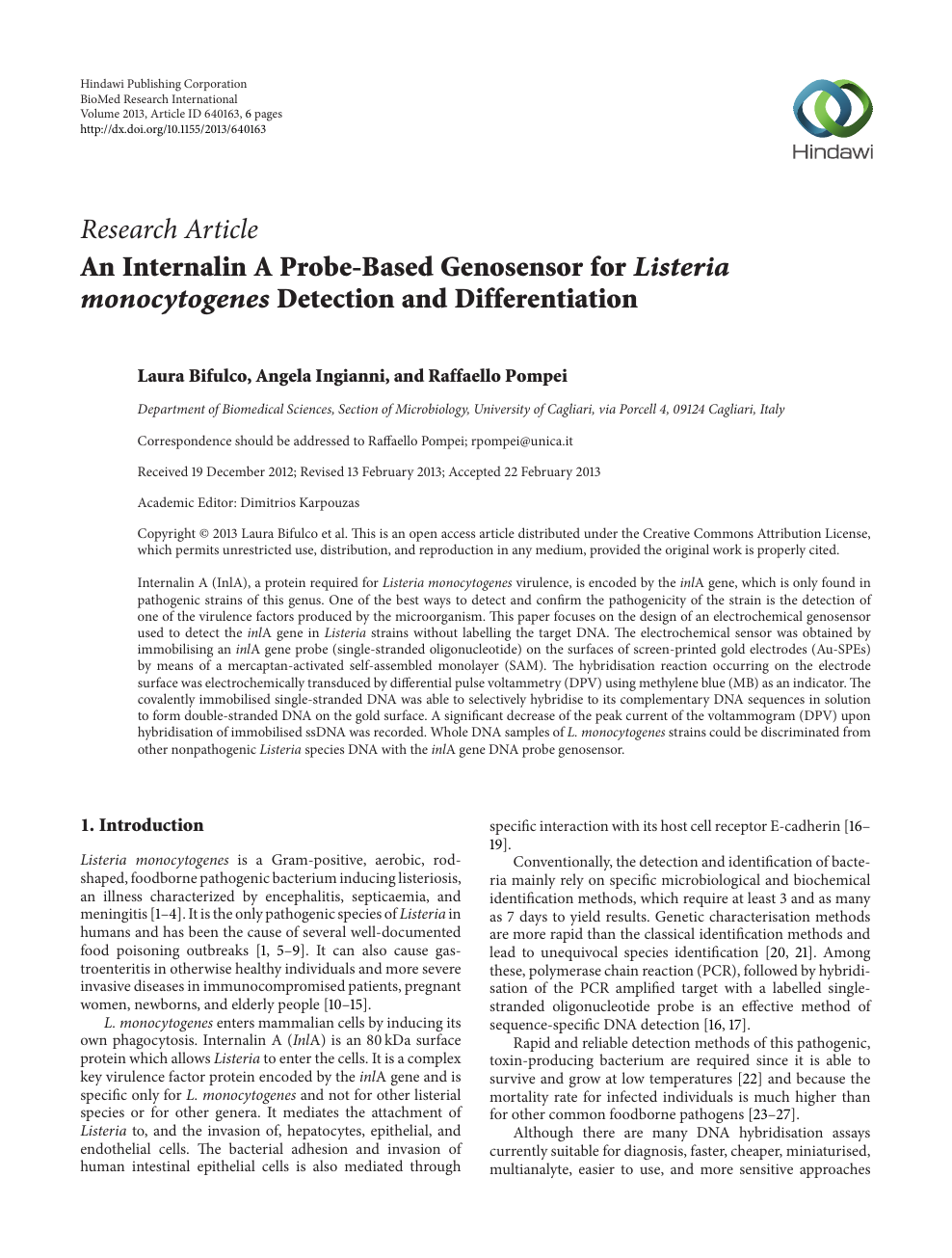 An Internalin A Probe Based Genosensor For Listeria Monocytogenes Detection And Differentiation Topic Of Research Paper In Chemical Sciences Download Scholarly Article Pdf Read Free On Cyberleninka Open Science Hub