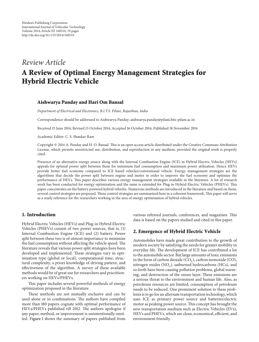 A Review of Optimal Energy Management Strategies for Hybrid Electric