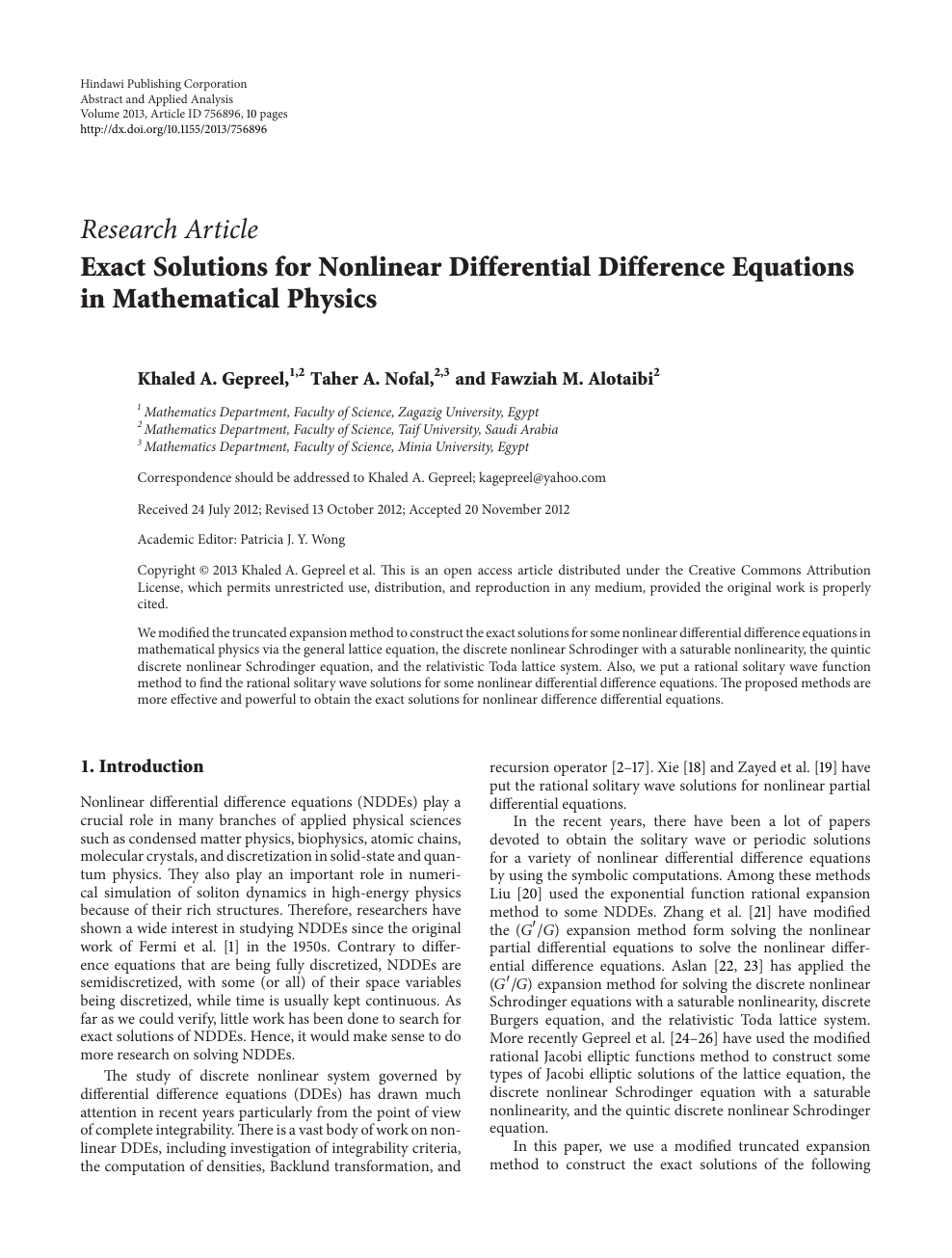 Exact Solutions for Nonlinear Differential Difference