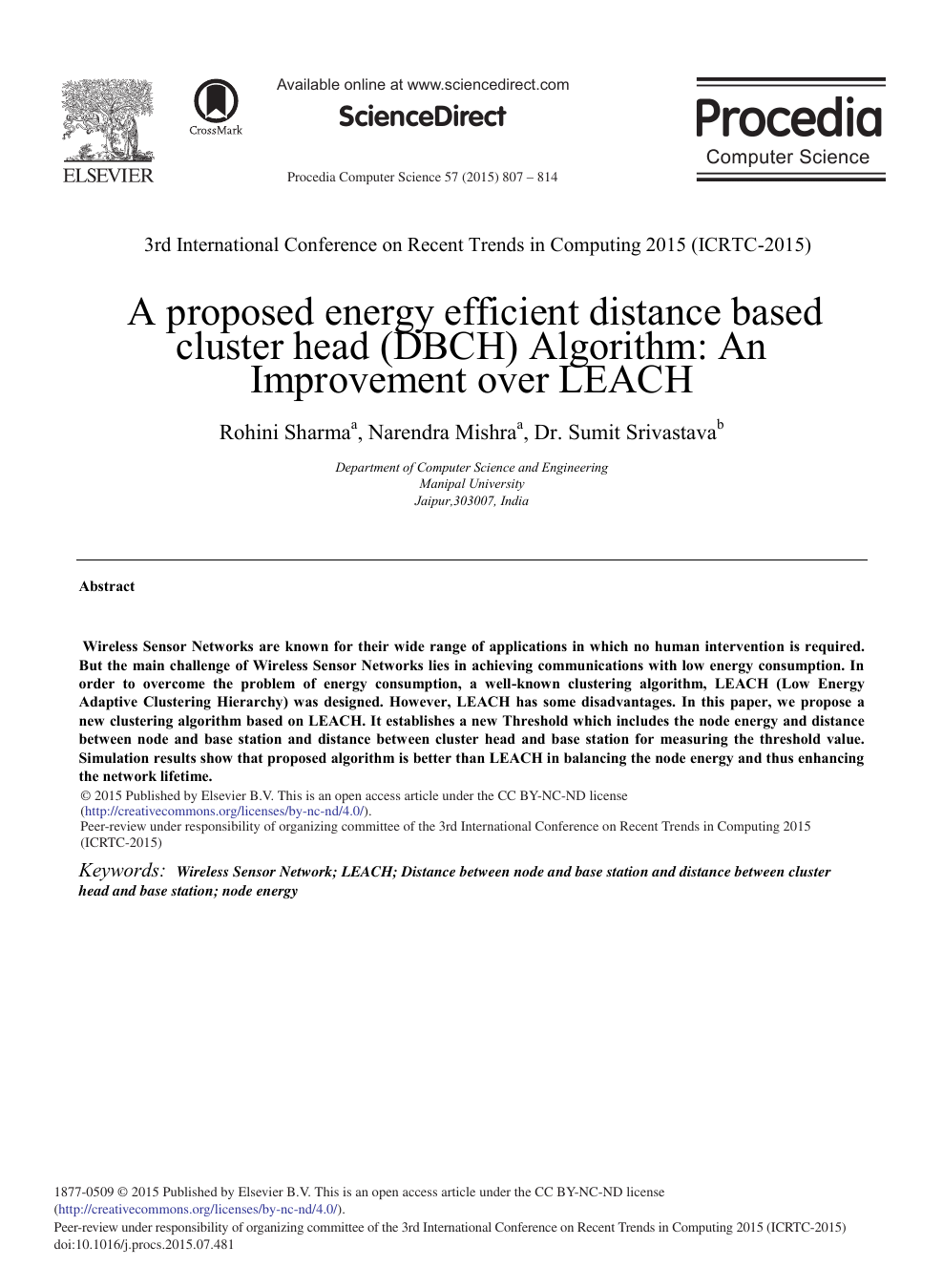A proposed Energy Efficient Distance Based Cluster Head (DBCH