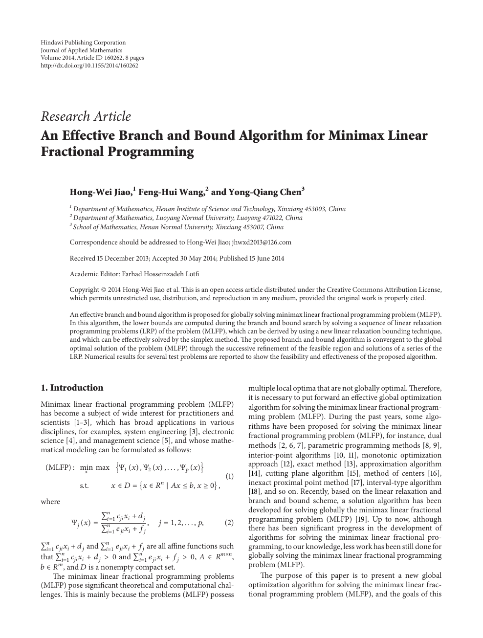 An Effective Branch and Bound Algorithm for Minimax Linear