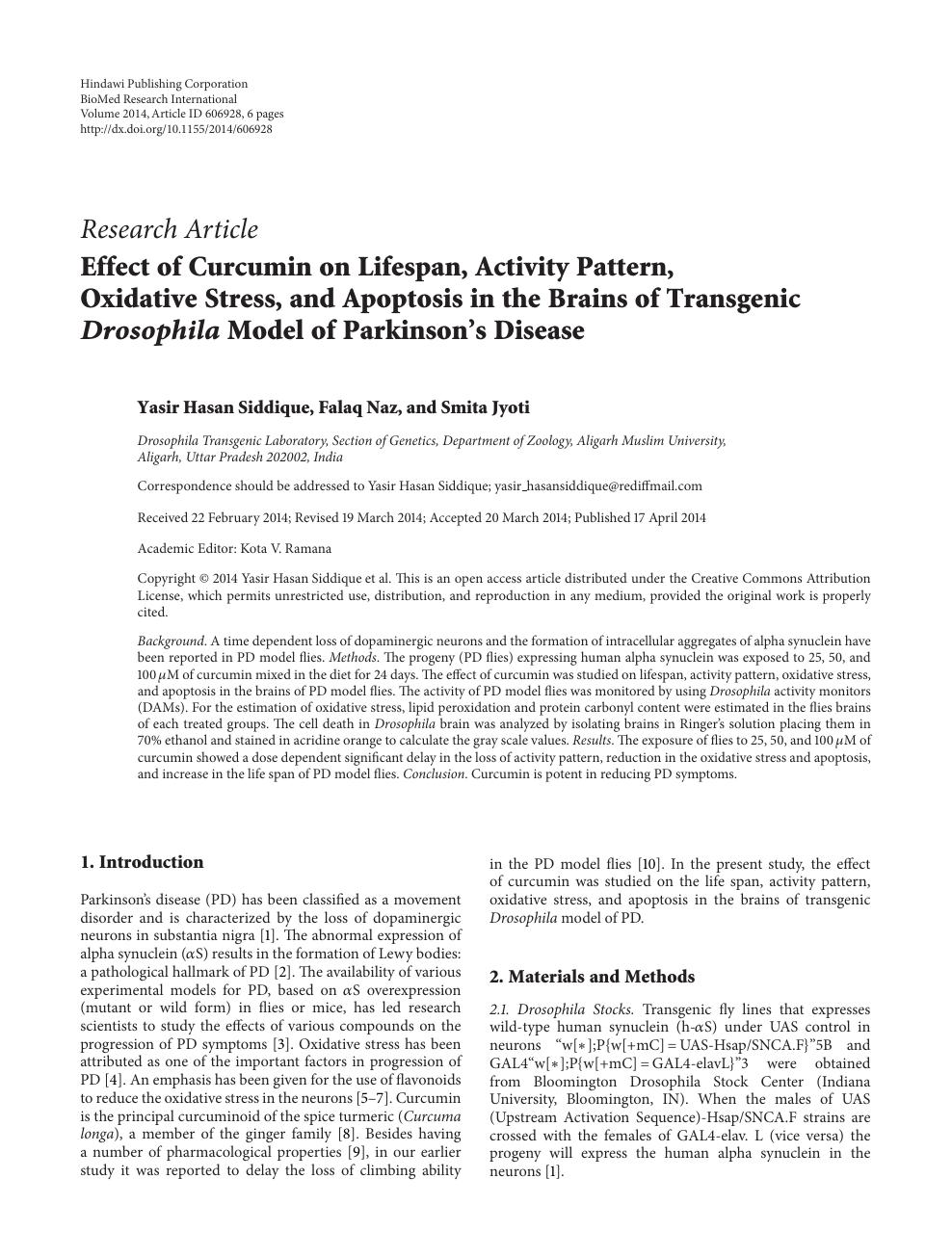 Effect of Curcumin on Lifespan, Activity Pattern, Oxidative
