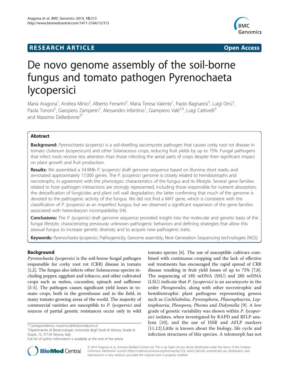 De novo genome assembly of the soil-borne fungus and tomato