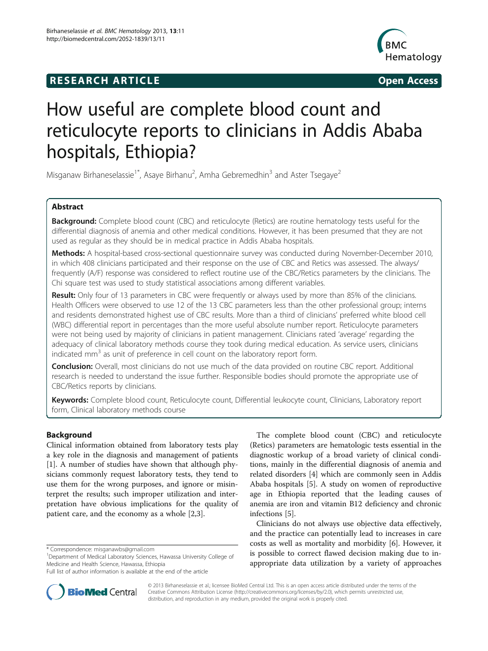 How useful are complete blood count and reticulocyte reports to
