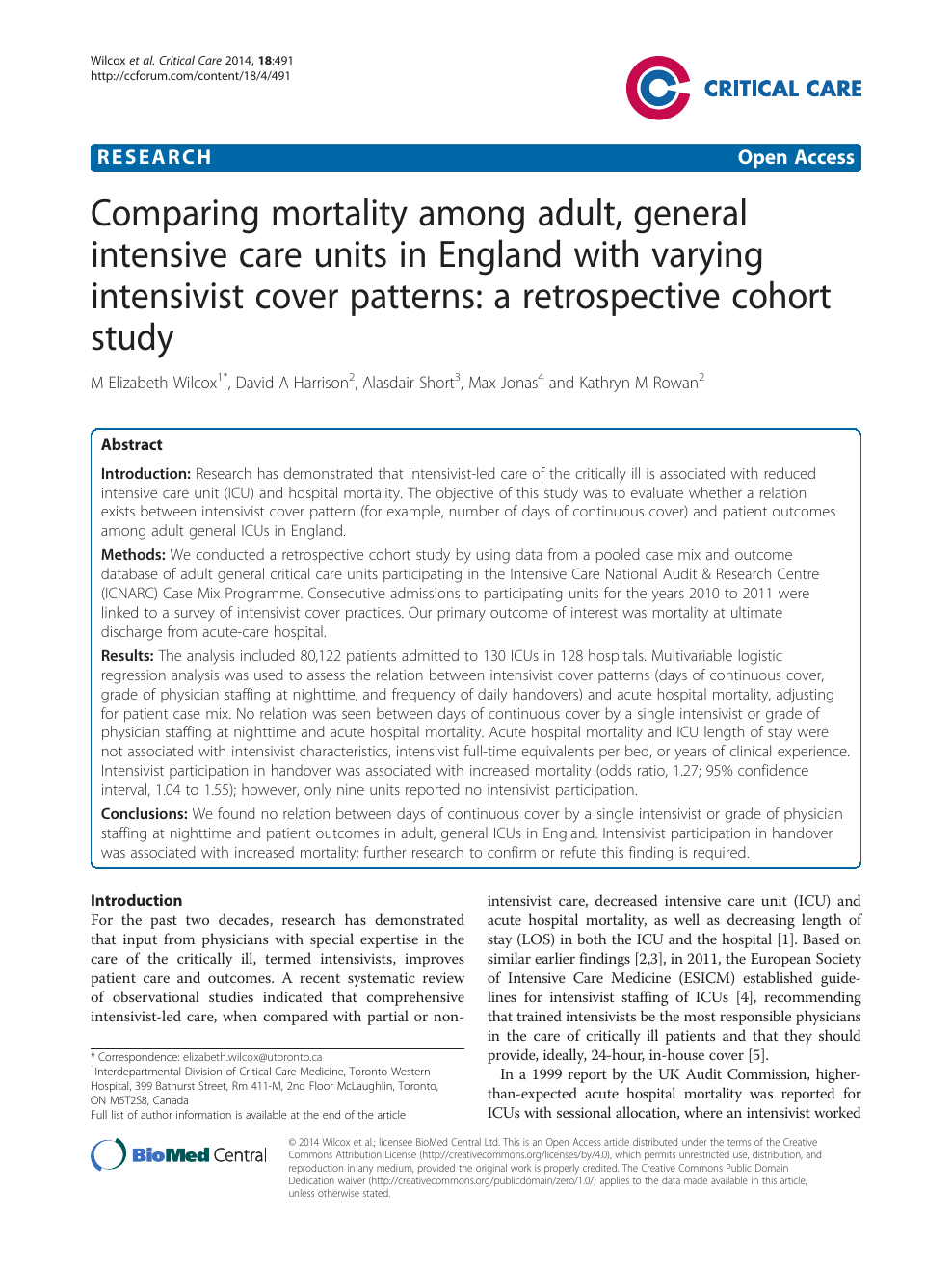 Comparing mortality among adult, general intensive care