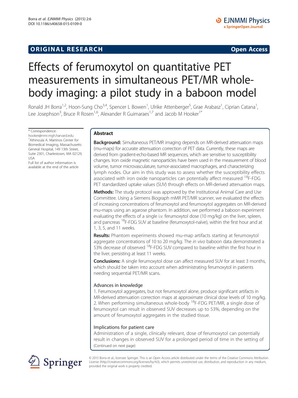 Effects of ferumoxytol on quantitative PET measurements in