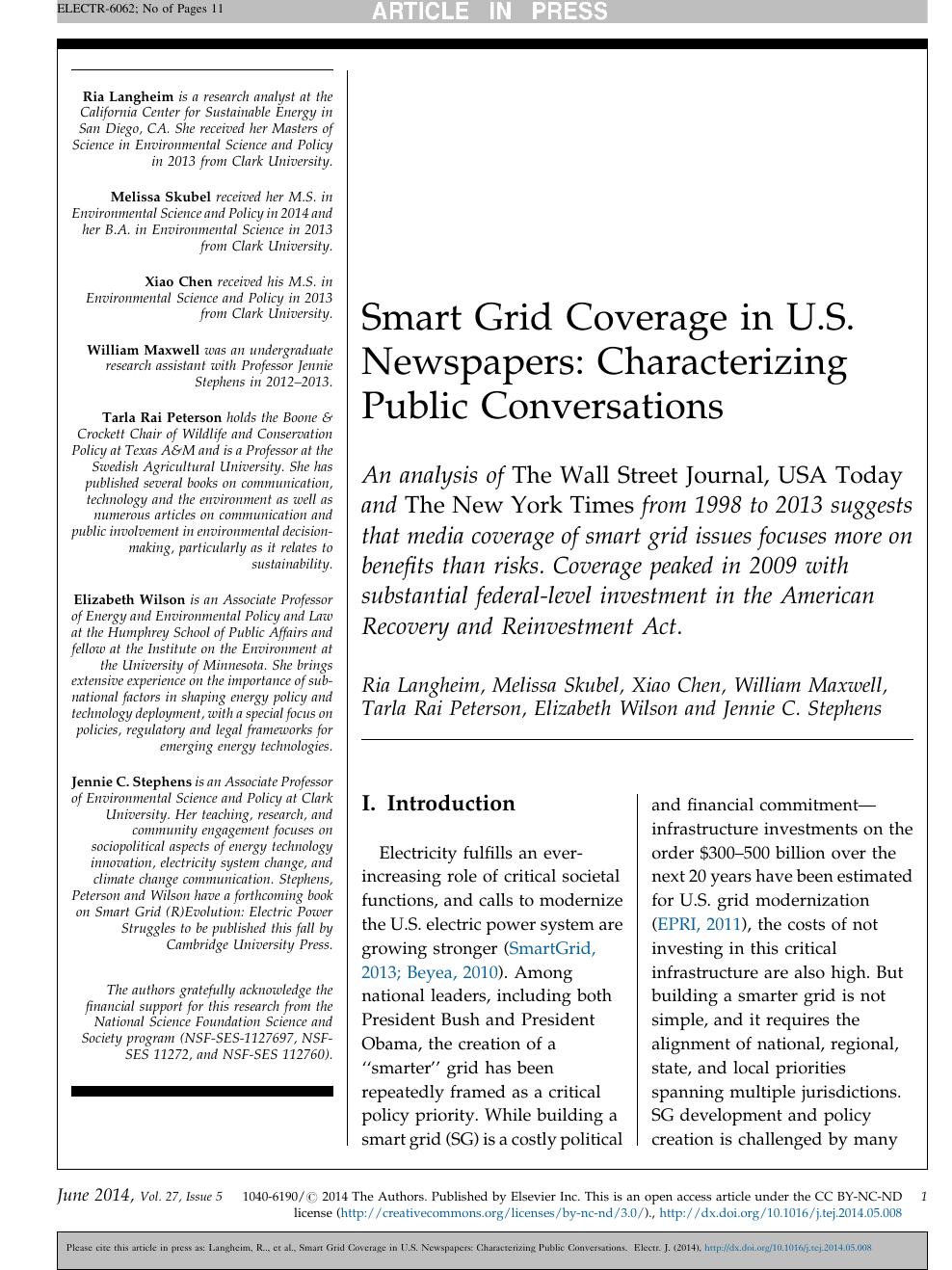 Smart Grid Coverage in U S  Newspapers: Characterizing