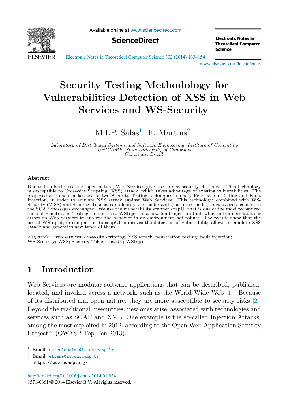 Security Testing Methodology for Vulnerabilities Detection