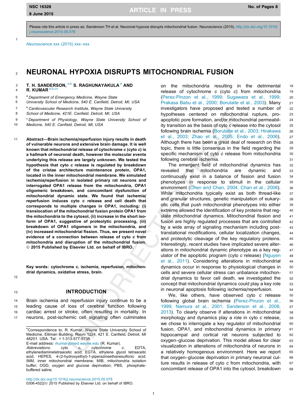 Neuronal hypoxia disrupts mitochondrial fusion – topic of