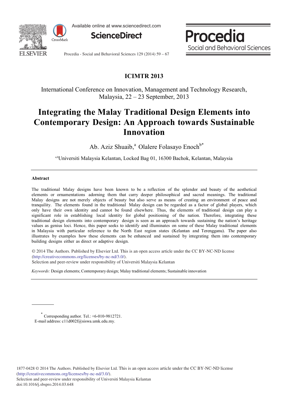 Integrating the Malay Traditional Design Elements into
