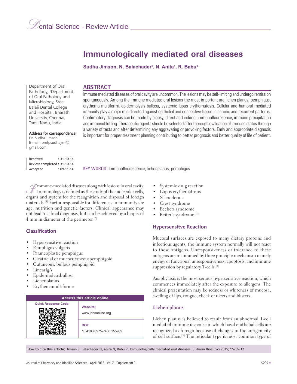 Immunologically mediated oral diseases – topic of research paper in