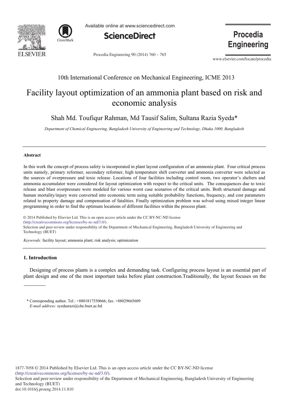 Facility Layout Optimization Of An Ammonia Plant Based On Risk And Economic Analysis Topic Of Research Paper In Chemical Engineering Download Scholarly Article Pdf And Read For Free On Cyberleninka Open