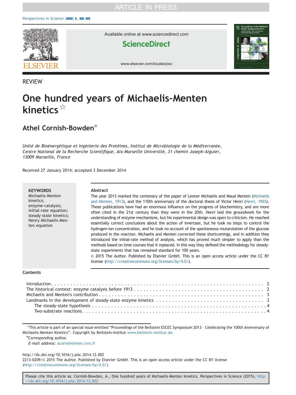 One Hundred Years Of Michaelismenten Kinetics Topic Of