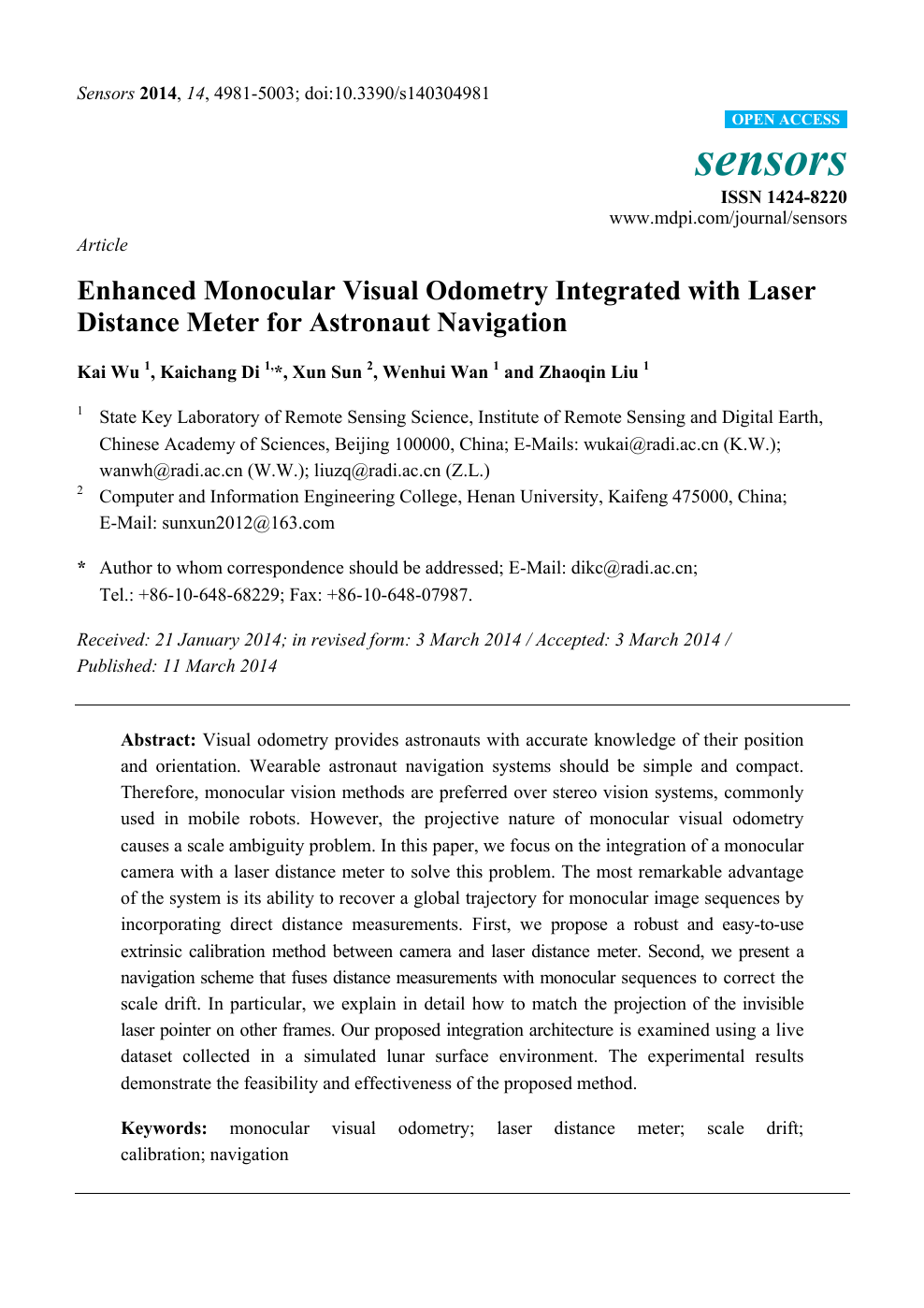 Enhanced Monocular Visual Odometry Integrated with Laser
