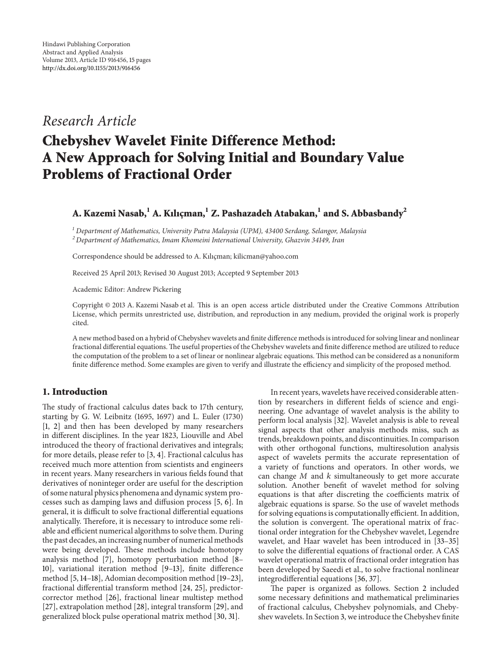 Chebyshev Wavelet Finite Difference Method: A New Approach