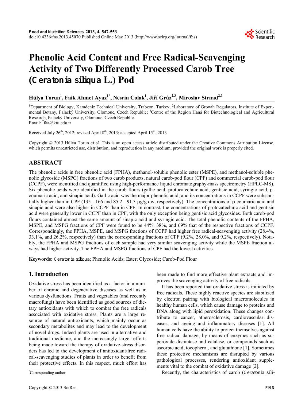 Phenolic Acid Content and Free Radical-Scavenging Activity