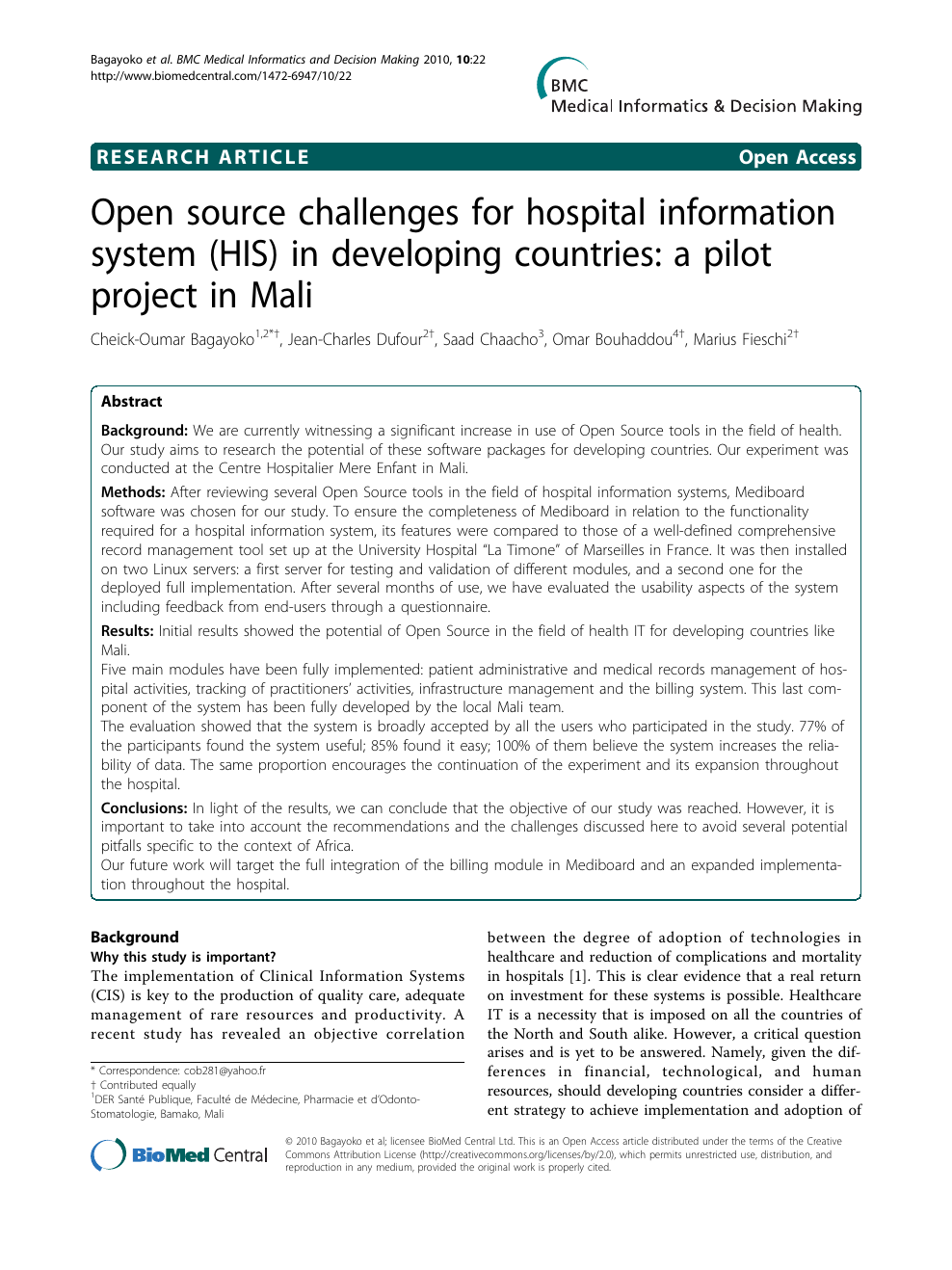 Open source challenges for hospital information system (HIS) in