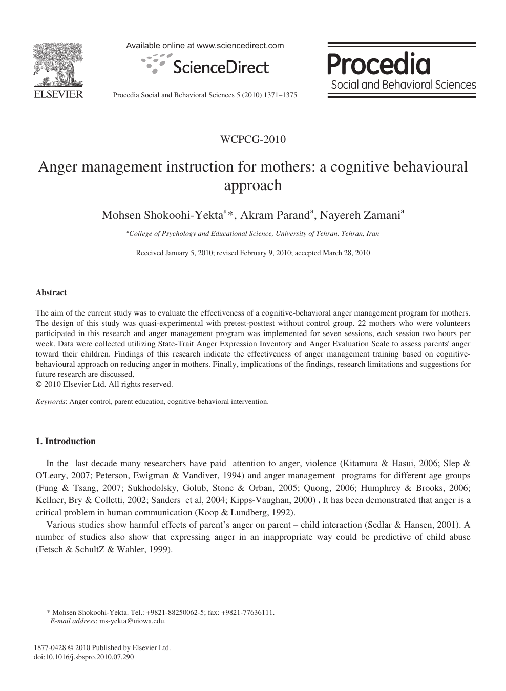 Anger management instruction for mothers: a cognitive