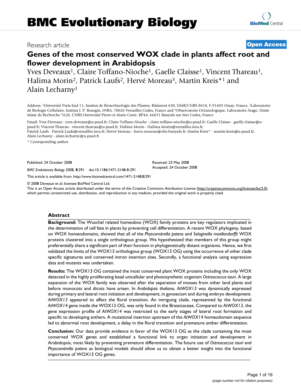 Genes of the most conserved WOX clade in plants affect root