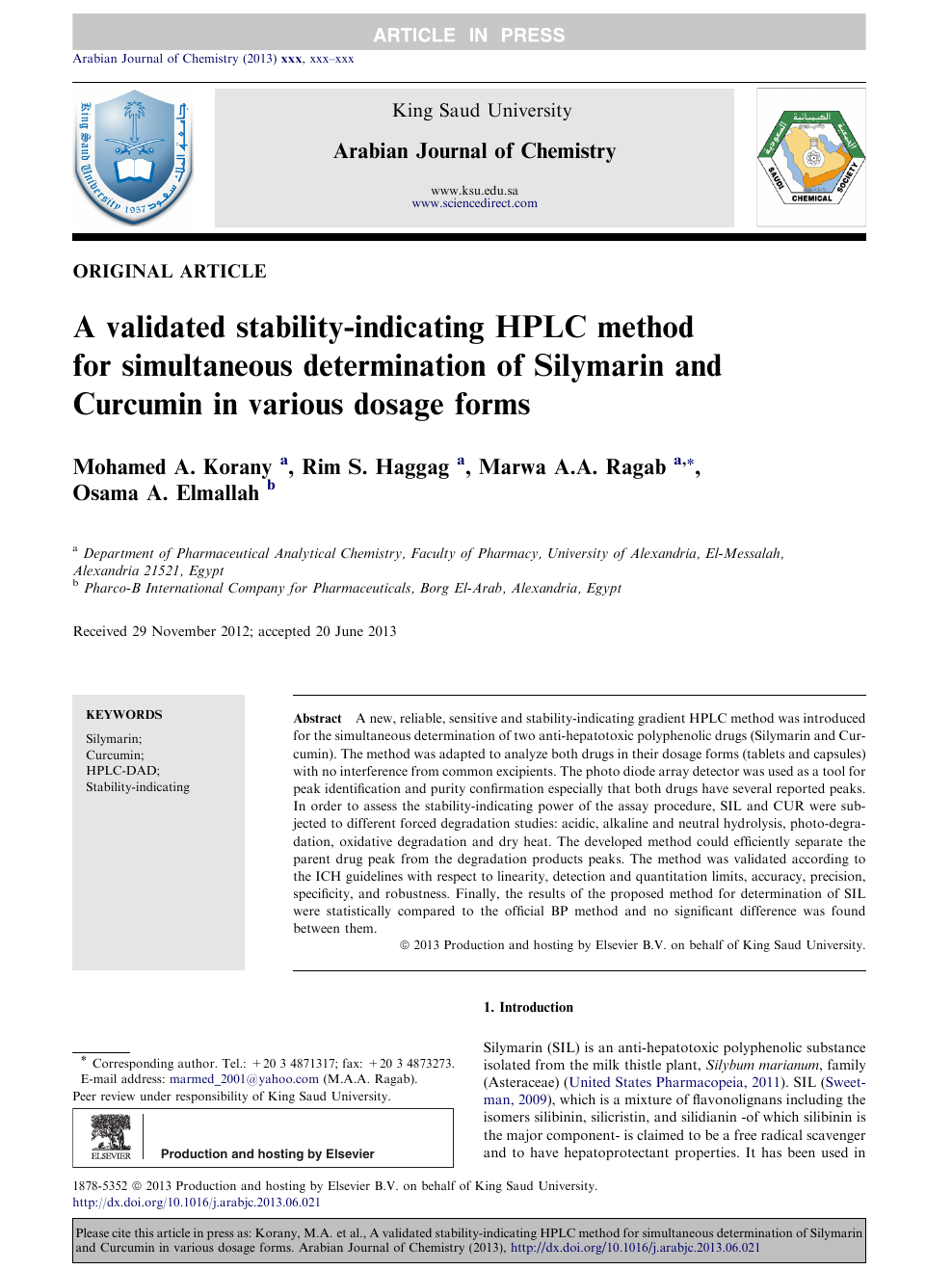 A validated stability-indicating HPLC method for simultaneous
