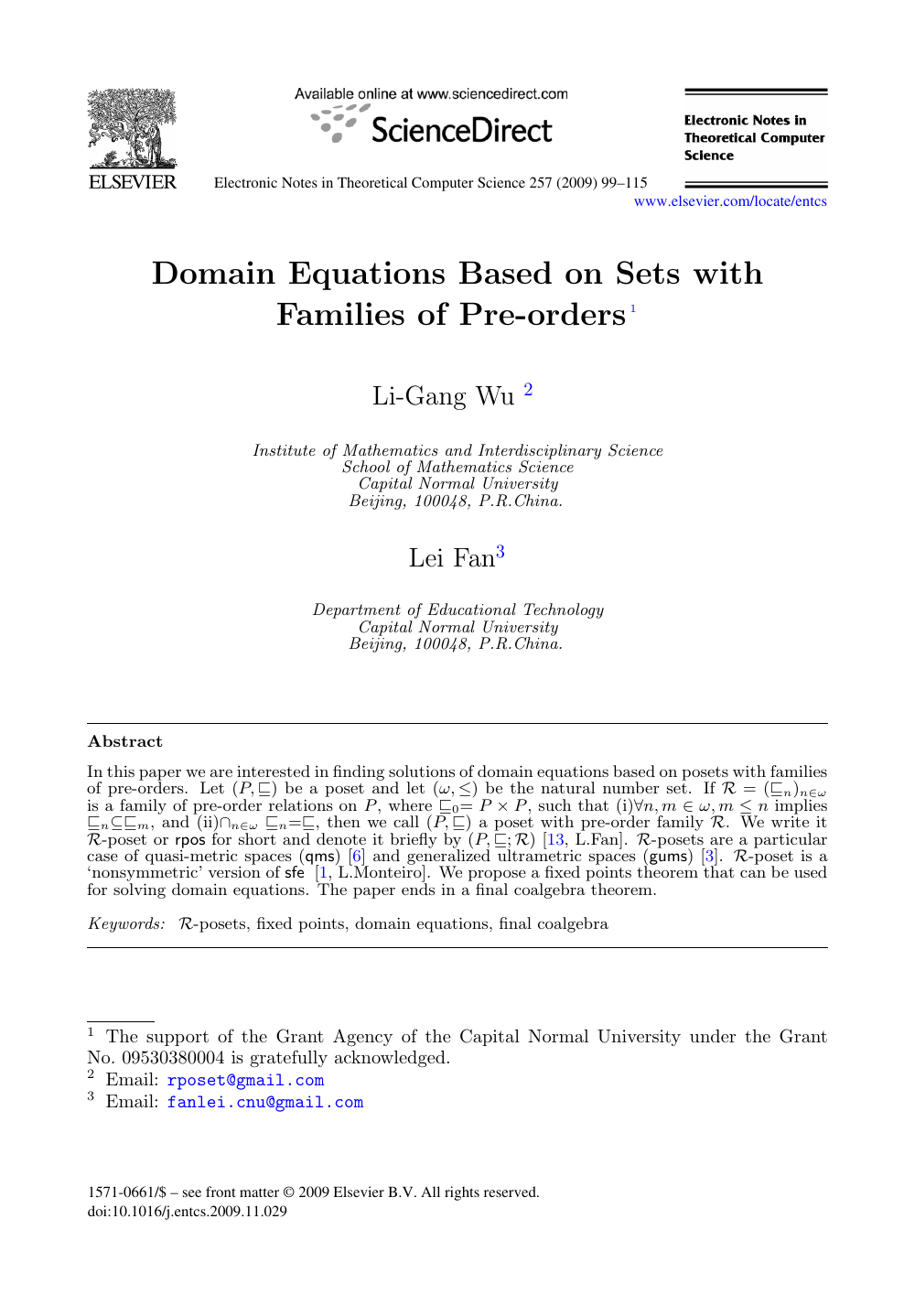 Domain Equations Based on Sets with Families of Pre-orders – topic