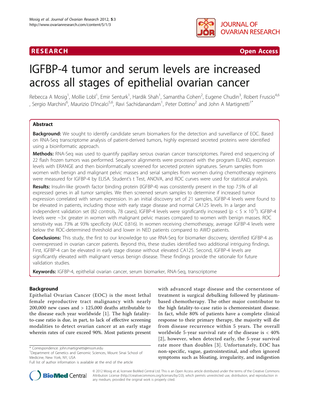 Igfbp 4 Tumor And Serum Levels Are Increased Across All Stages Of Epithelial Ovarian Cancer Topic Of Research Paper In Clinical Medicine Download Scholarly Article Pdf And Read For Free On Cyberleninka