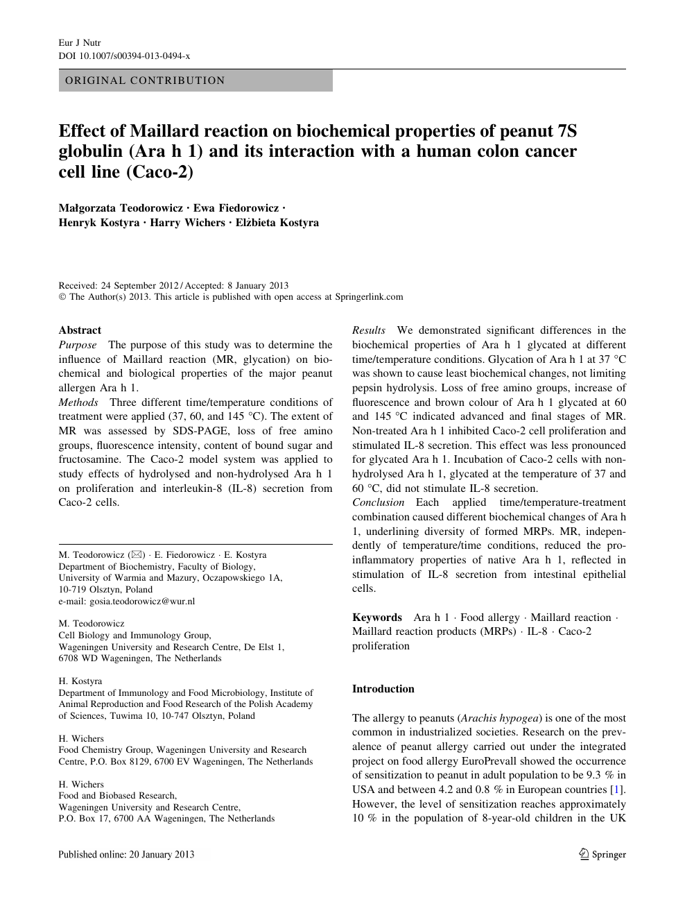 Effect Of Maillard Reaction On Biochemical Properties Of Peanut 7s Globulin Ara H 1 And Its Interaction With A Human Colon Cancer Cell Line Caco 2 Topic Of Research Paper In Chemical