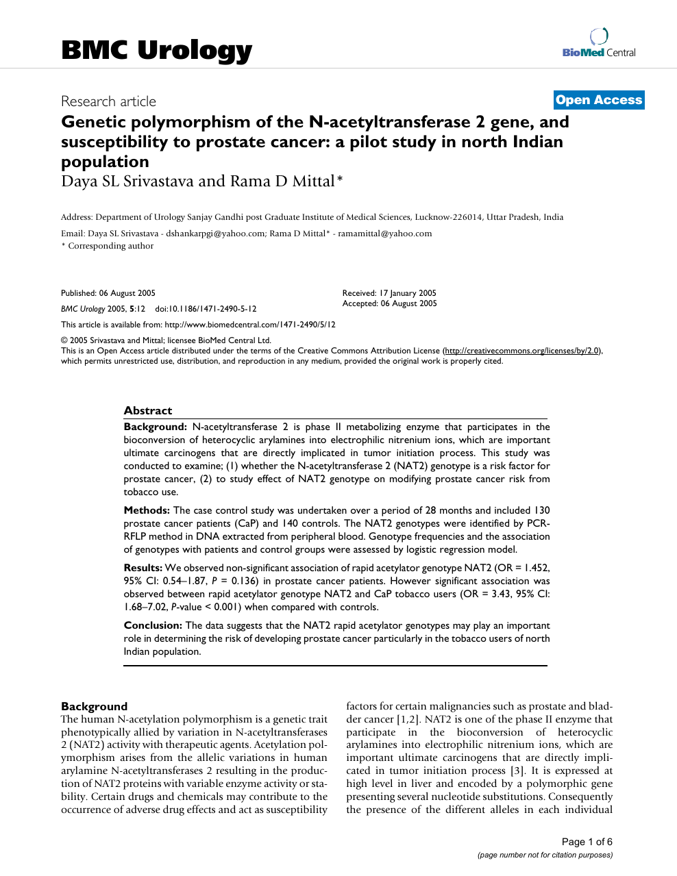 Genetic polymorphism of the N-acetyltransferase 2 gene, and