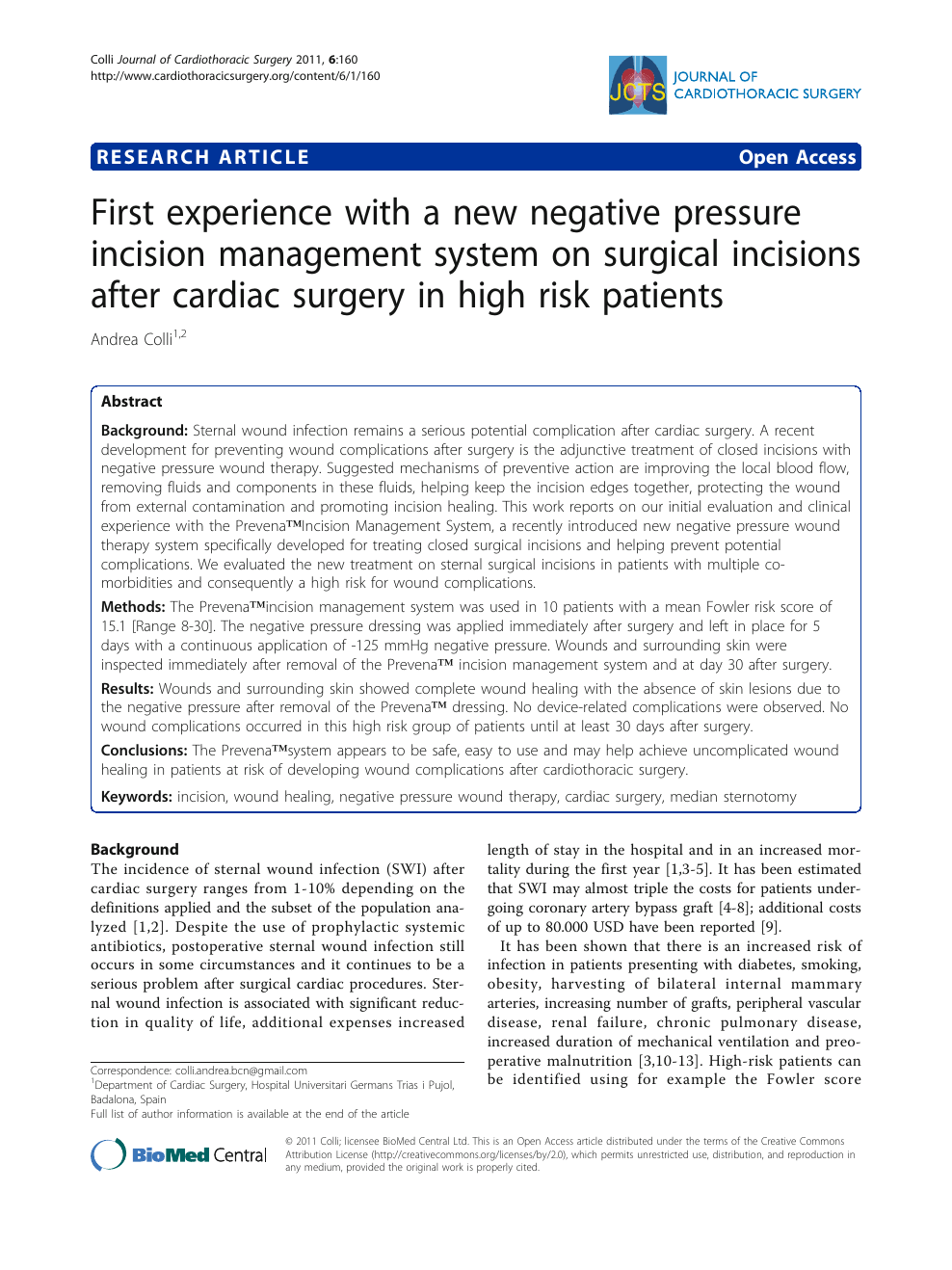 First Experience With A New Negative Pressure Incision Management System On Surgical Incisions After Cardiac Surgery In High Risk Patients Topic Of Research Paper In Clinical Medicine Download Scholarly Article Pdf