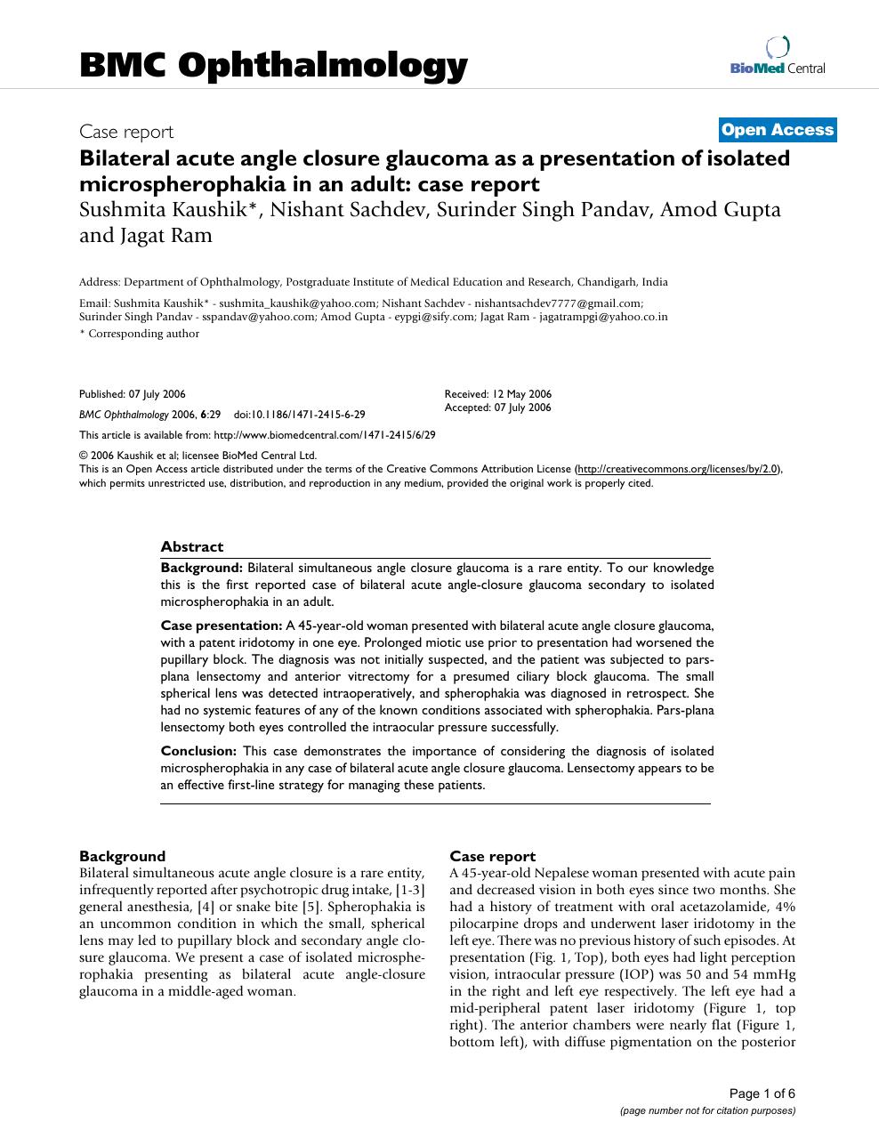 Bilateral acute angle closure glaucoma as a presentation of