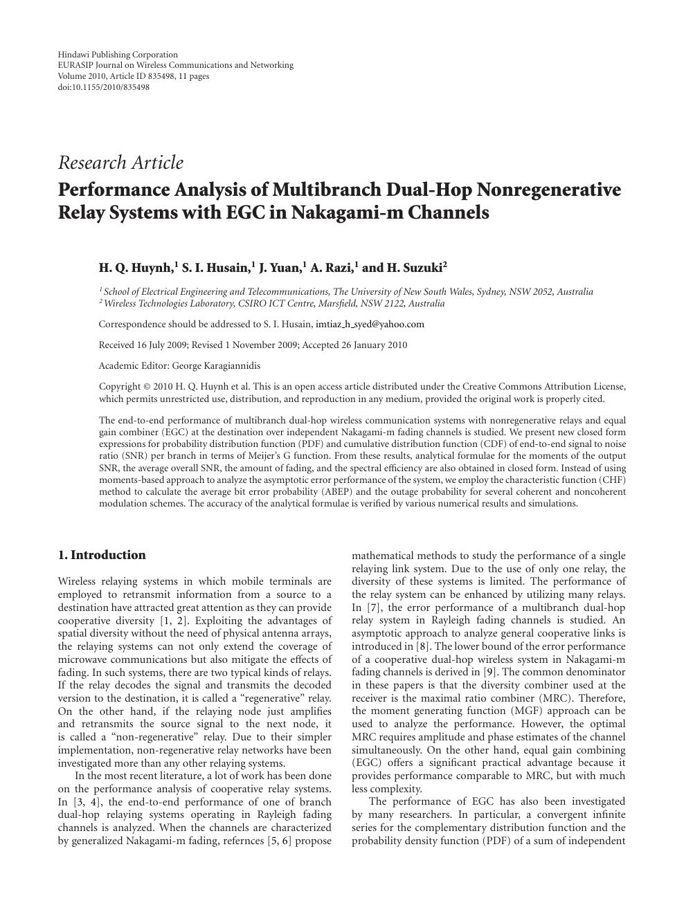 Performance Analysis Of Multibranch Dual Hop Nonregenerative Relay Basic Concept Pdf Read Paper