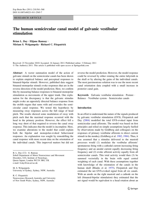 The human semicircular canal model of galvanic vestibular
