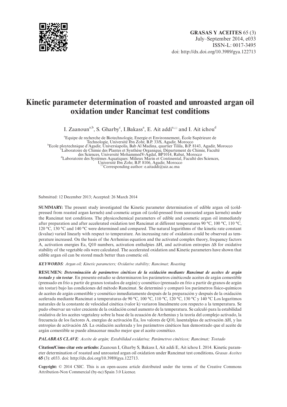 Kinetic Parameter Determination Of Roasted And Unroasted