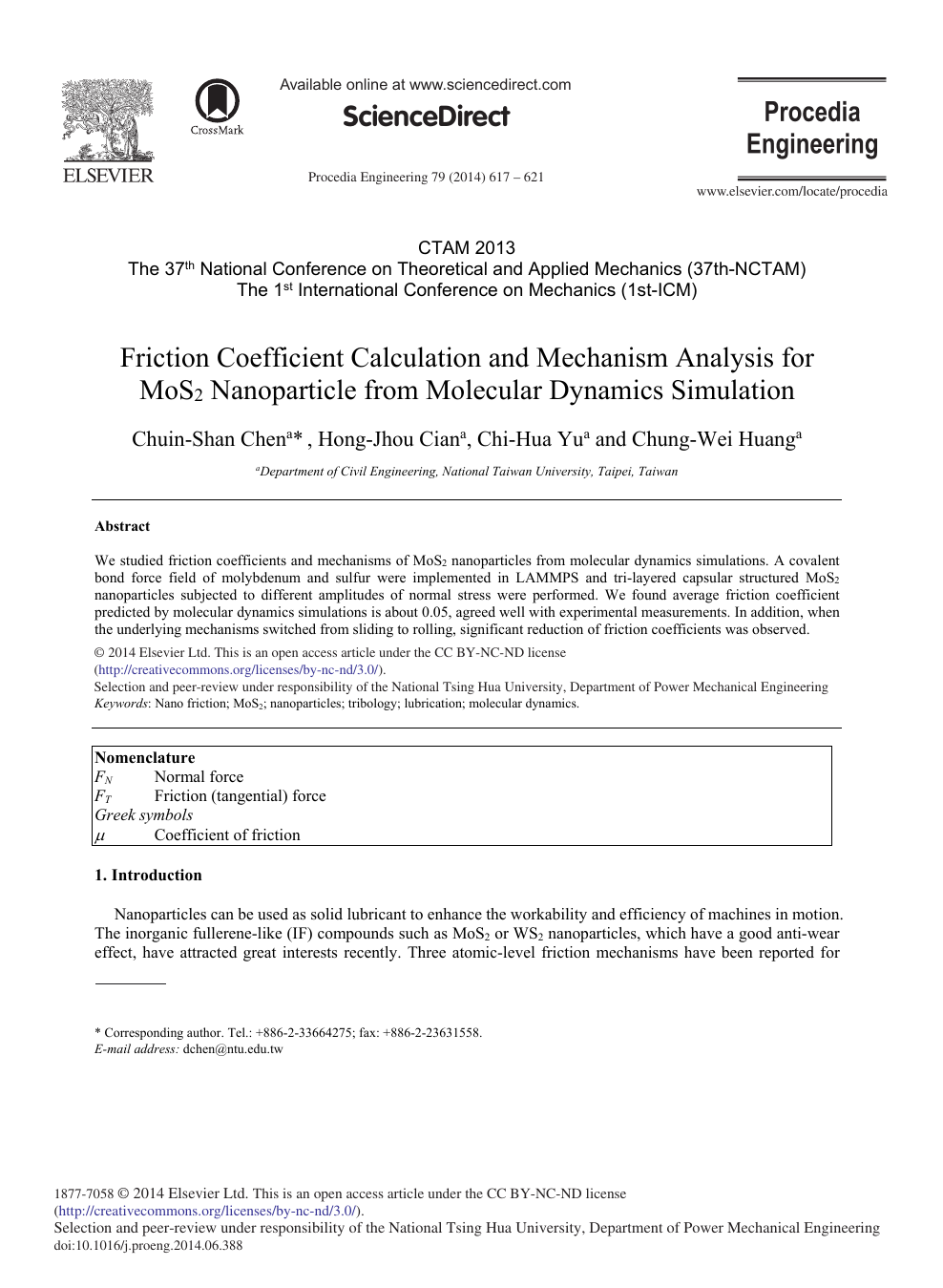 Friction Coefficient Calculation and Mechanism Analysis for MoS2