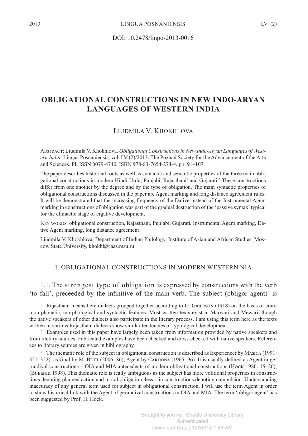 Obligational Constructions in New Indo-Aryan Languages of Western