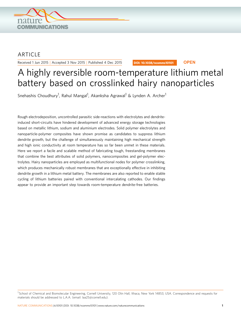 A highly reversible room-temperature lithium metal battery