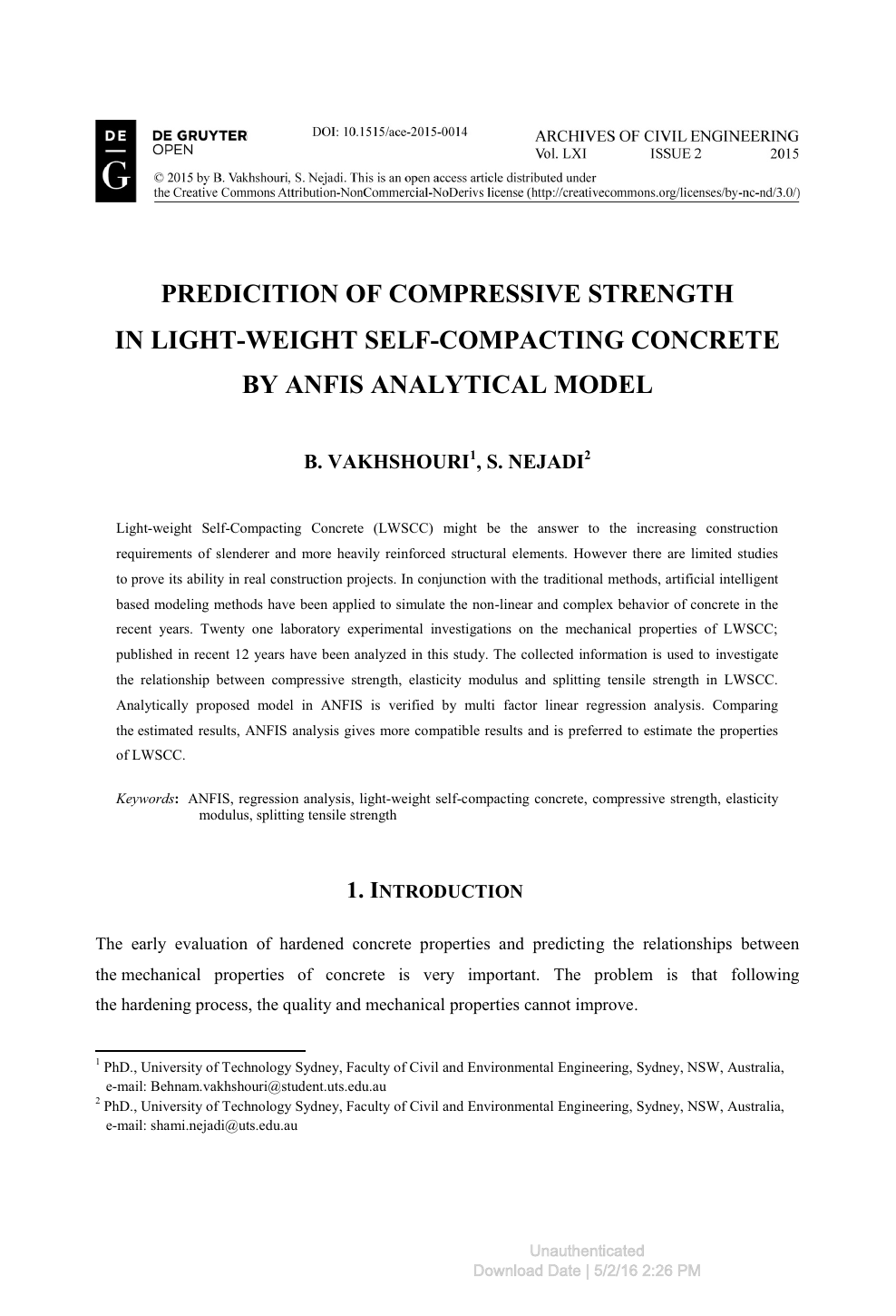 Predicition Of Compressive Strength In Light-Weight Self