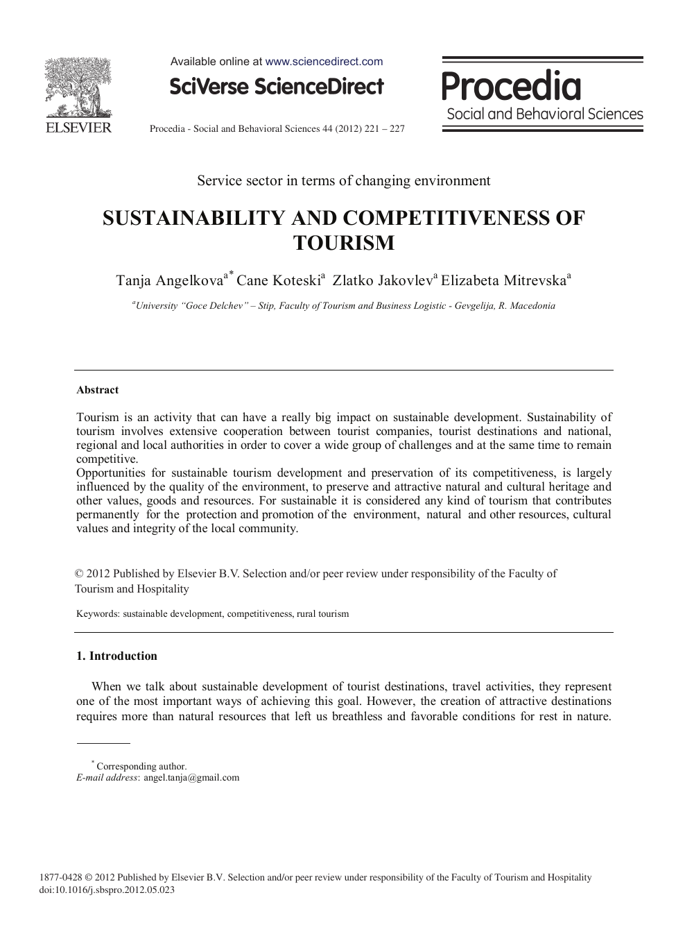 Sustainability and Competitiveness of Tourism – topic of research