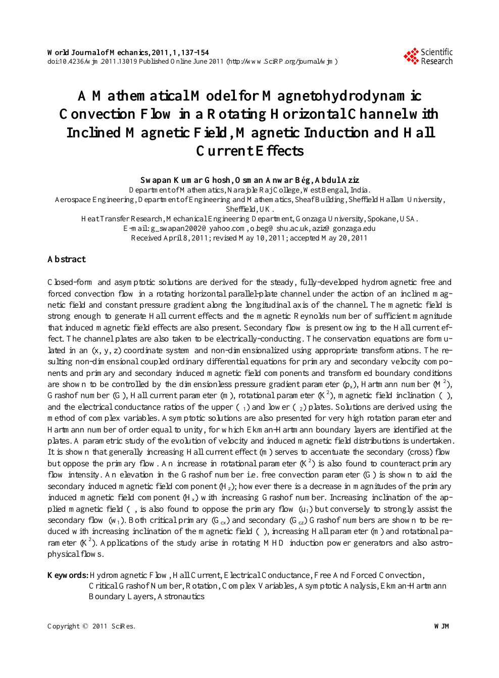 A Mathematical Model for Magnetohydrodynamic Convection Flow