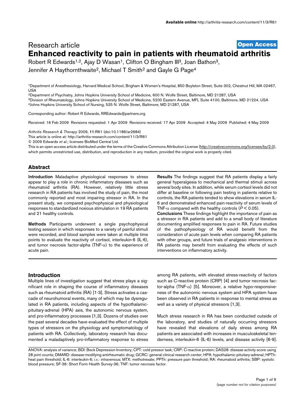 Enhanced reactivity to pain in patients with rheumatoid arthritis