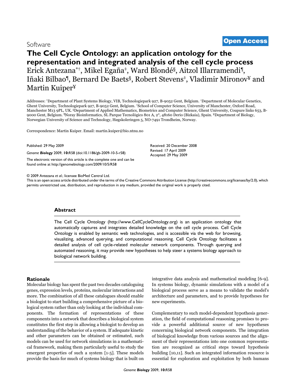 The Cell Cycle Ontology: An application ontology for the